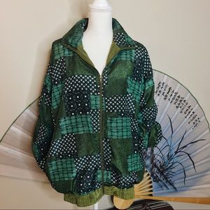 🦚 80's Green Patchwork Bomber 🦚